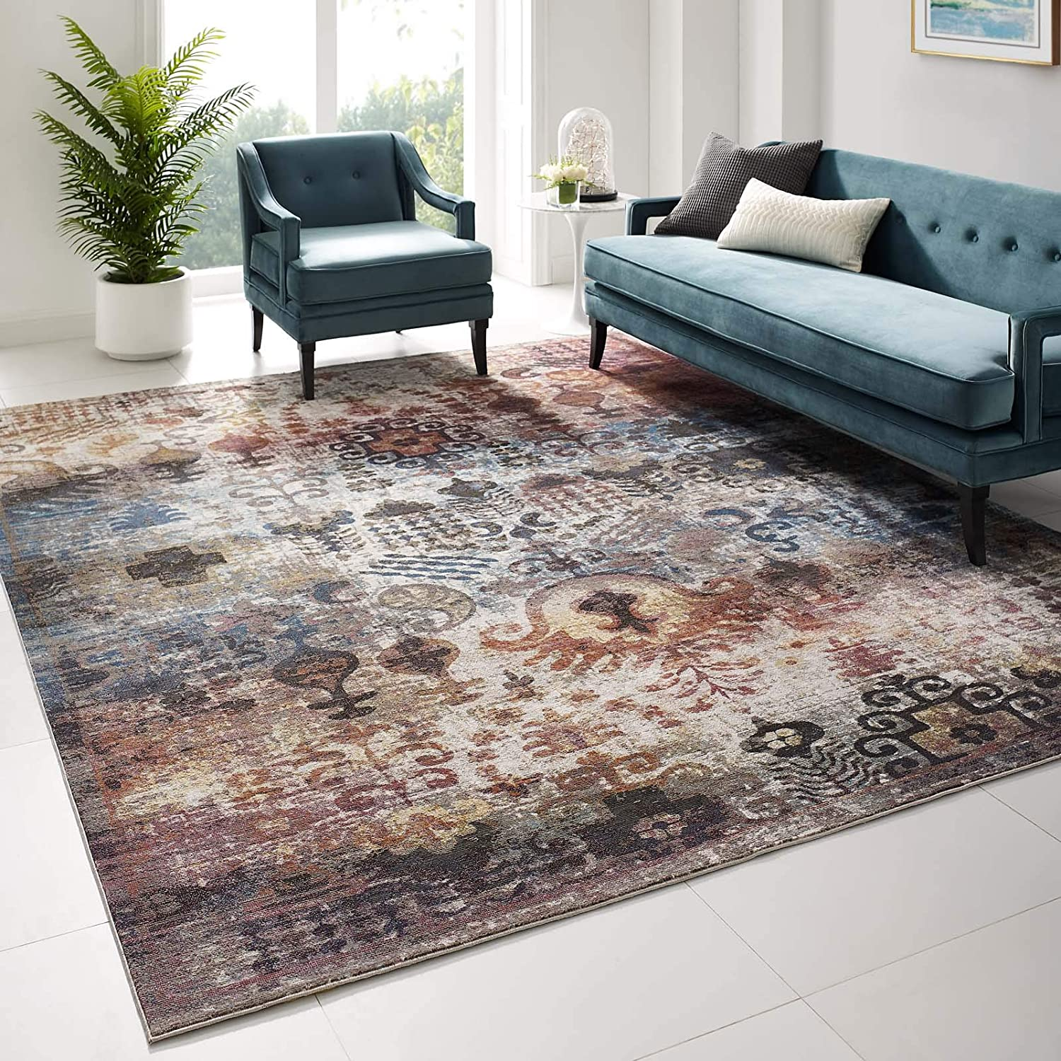 Modway Success Tahira Transitional Distressed Vintage Floral Moroccan Trellis 8x10 Area Rug, Multicolored