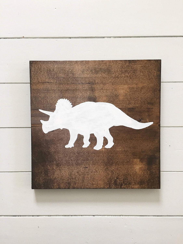 Venu67Hol Triceratops Dinosaur Sign Dinosaur Nursery Decor Dinosaur Sign Nursery Wall Art Hand Printed Wood plaqueen Wall Art Childrens Room Decor