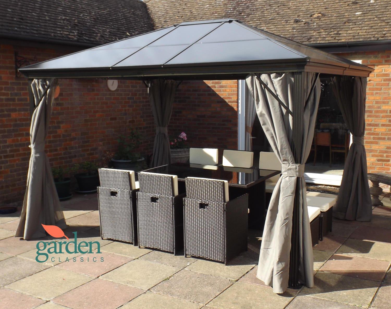 tende laterali per la privacy e zanzariere adatto per vasche idromassaggio tetto rigido in policarbonato fum/è Lussuoso gazebo Swanbourne per party in giardino 3,6/m x 3/m