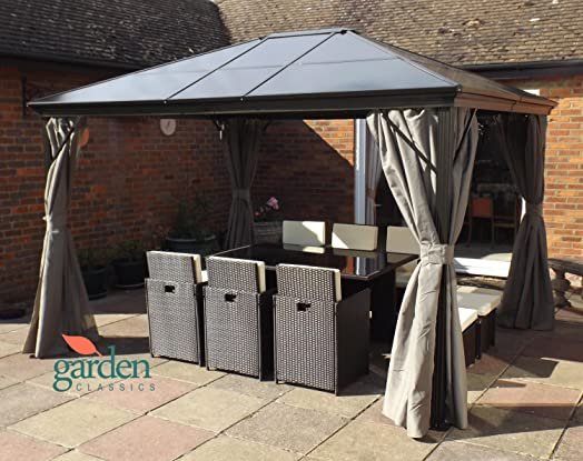 Luxury Swanbourne Garden Party Gazebo Hardtop Smoked Polycarbonate Roof 36m X 3m Privacy Sides
