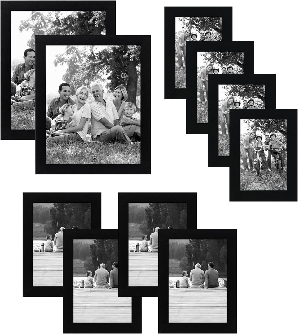 Amazon Com Americanflat 10 Piece Black Picture Frame Set Includes Sizes 8x10 5x7 And 4x6 Shatter Resistant Glass Hanging Hardware Included Home Kitchen