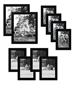 Americanflat 10-Piece Multi Pack; Includes 8x10, 5x7, and 4x6 Frames Gallery Set, Black