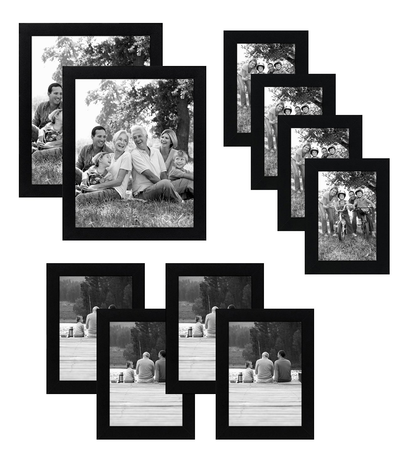 Americanflat 10-Piece Multi Pack Black Frames; Includes Two 8x10 Frames, Four 5x7 Frames, Four 4x6 Frames