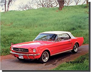 Vintage Car Wall Decor 1965 Red Ford Mustang Convertible Art Print Poster (16x20)