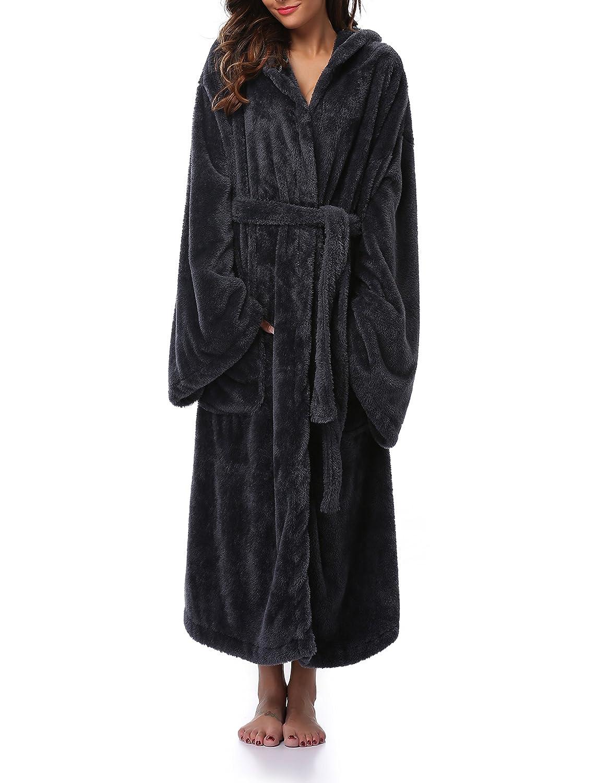 VOGMATE Womens Winter Robe Long Lightweight Kimono Robe Bathrobe Hood Coral Velvet Warm Dressing Gown