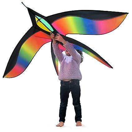 Tomi Vogel Drachen – Riesiges Drachen, ideal für Kinder und Erwachsene – Einfach zu fliegender Drachen bei starkem Wind oder