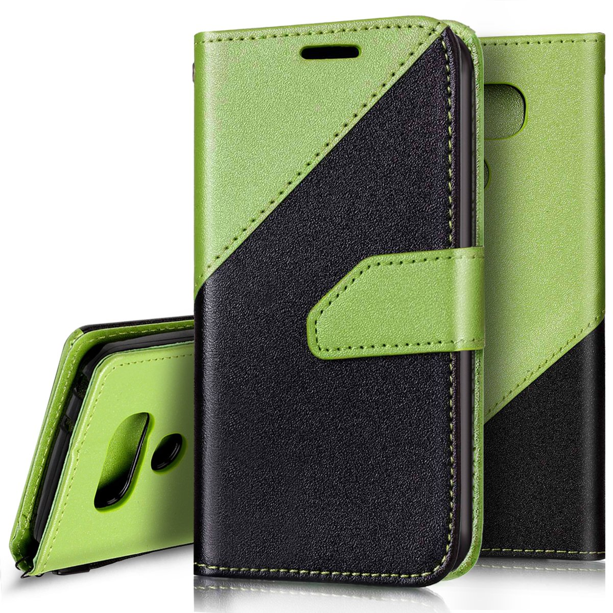 LG G6funda, LG G6funda tipo cartera, Ukayfe elegante mate dos colores diseño Premium de piel sintética tipo libro con tapa protectora funda con ranuras para tarjetas para LG G6, Ukayfe0124100