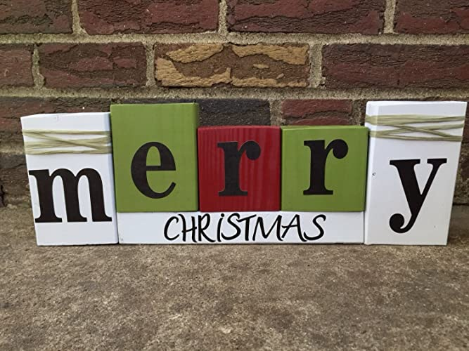 merry christmas stacking wood word block set for seasonal and home decor - Merry Christmas Decorative Blocks
