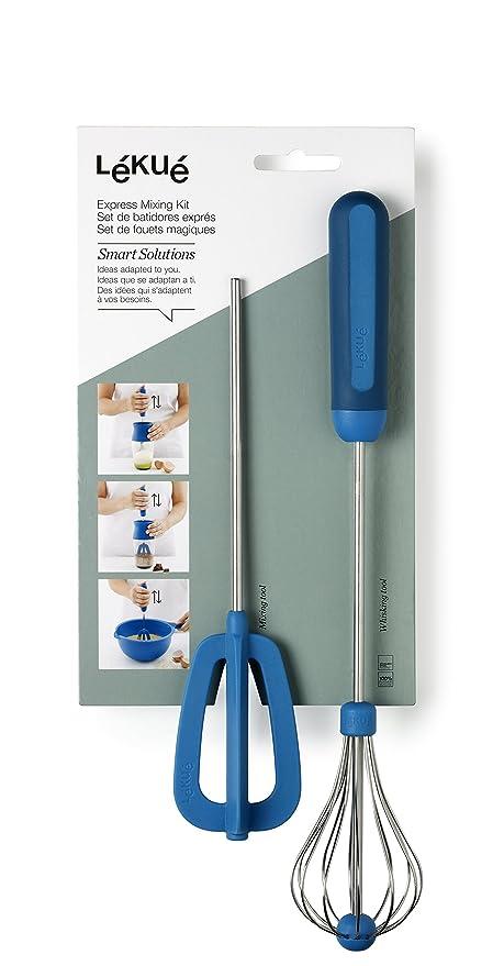 Lékué - Set de batidores exprés, acero inoxidable, 33 x 5.5 x 6 cm, color azul