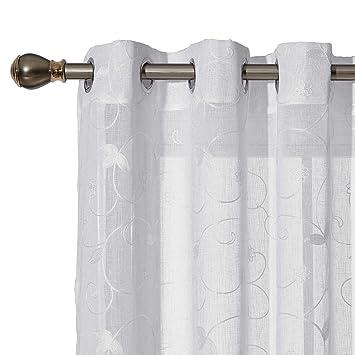 Deconovo Ösenvorhang Transparent Gardinen Wohnzimmer Vorhang Stickerei  245x140 cm Weiß Blumen 2er Set