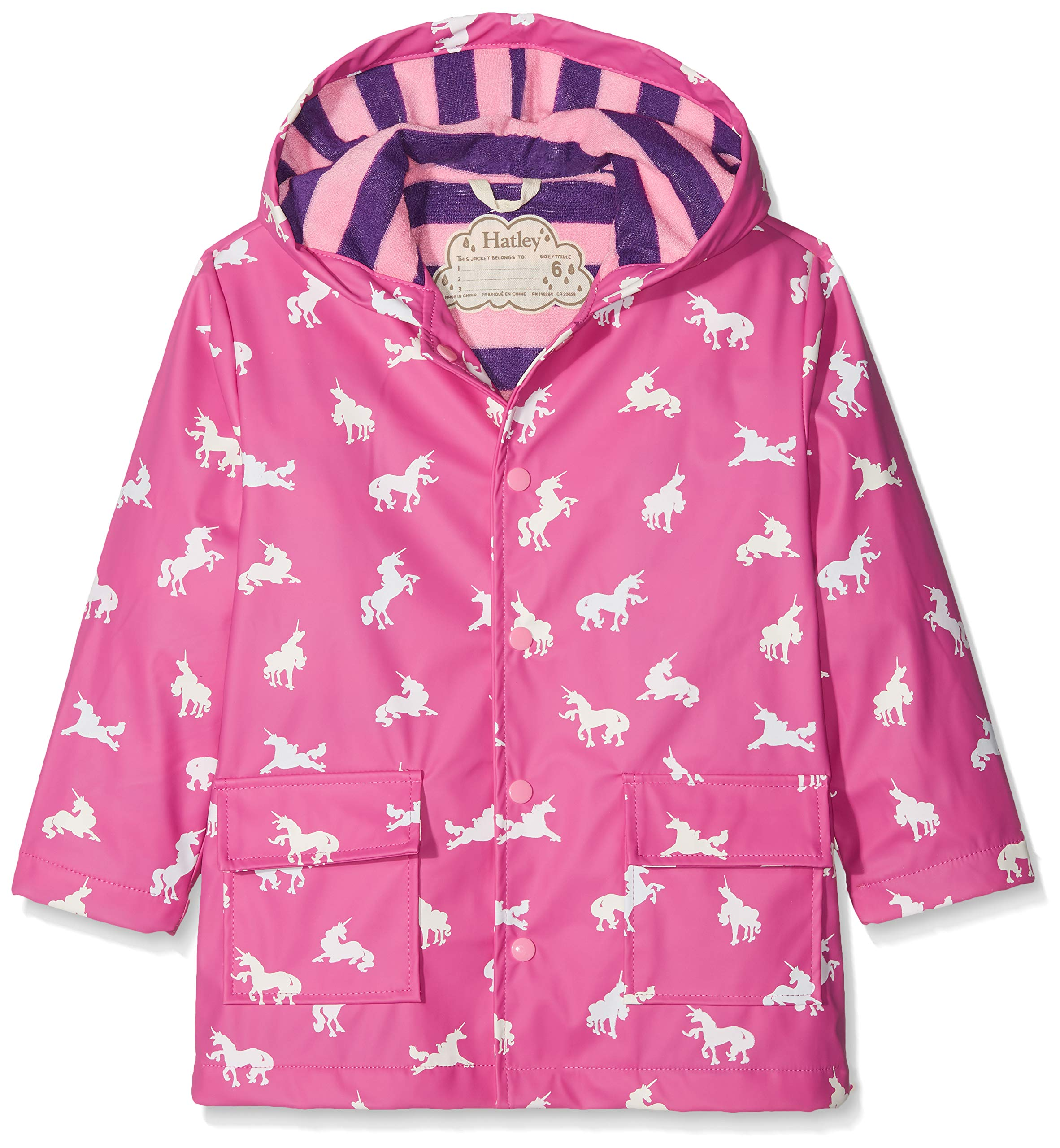 Hatley Girls' Big Printed Raincoats, Colour Changing Unicorn Silhouettes, 8