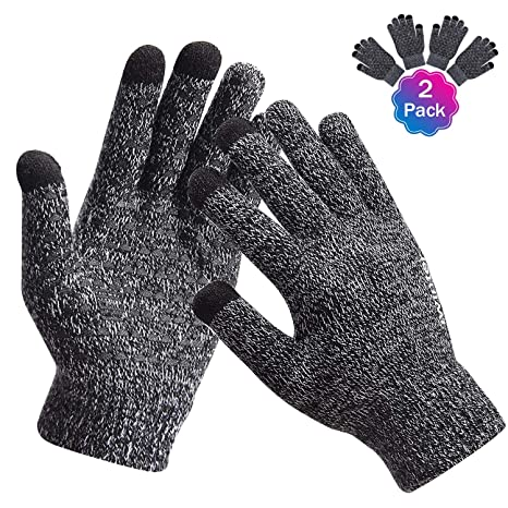 ac896c1744a34 TOBWOLF 2Pairs Texting Gloves, Warm Winter Gloves with 3 Touchscreen  Fingers, Anti-Slip