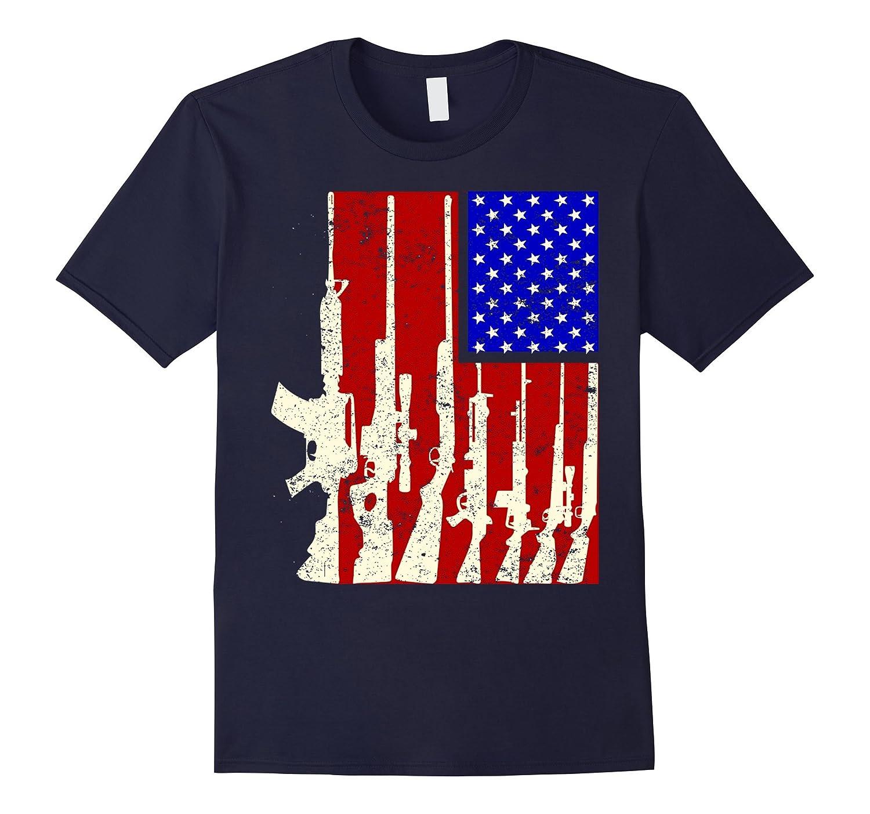 American Flag With Machine Guns T-shirt-TH