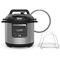 Ninja Instant Cooker, 1000-Watt Pressure Cooker, Slow Cooker, Multi Cooker, and Steamer with 6-Quart Ceramic Coated Pot & Steam Rack (PC101), Black/Silver