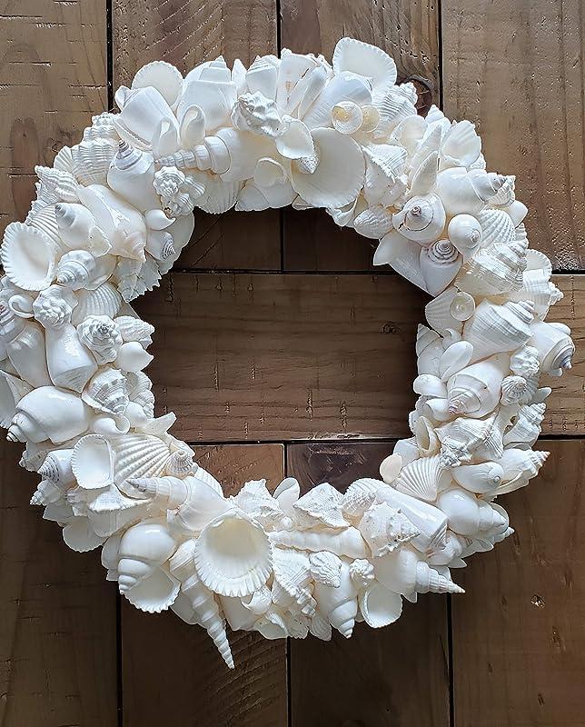 "Shell Wreath Starfish and Seashells Coastal Beach Home Decor14/"""