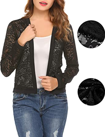 Mofavor Women s Spring Fashion Long Sleeve See Through Loose Fit Lace Open  Front Cardigan Black S 635ce924b