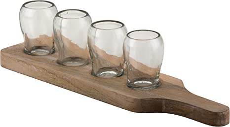 Amazon Com 10 Strawberry Street Telluride Condiment Tray With 4 X 5 Oz Shot Glasses White Wash Wood Clear Glass Kitchen Dining