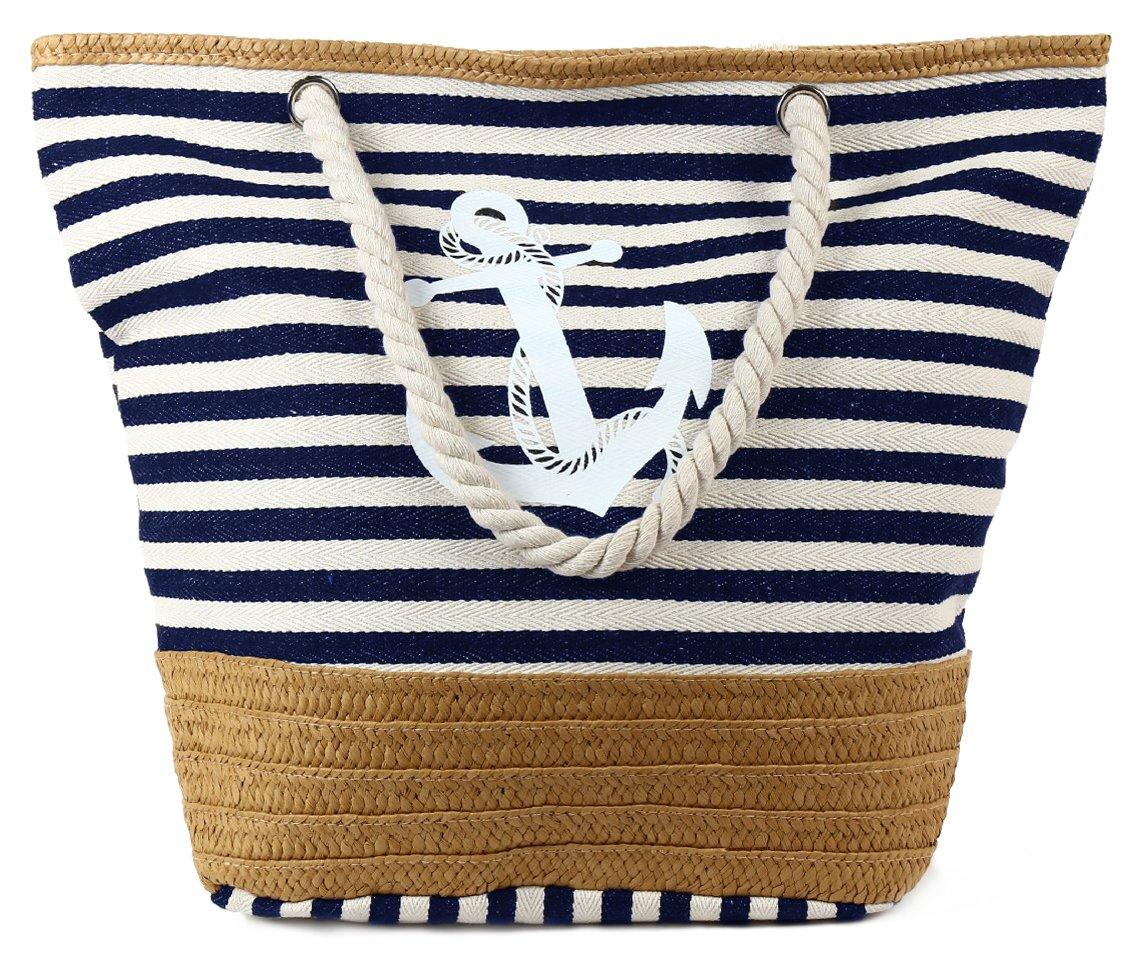 PULAMA Womens Large Beach Tote Canvas Shoulder Bag Striped Anchor Summer Handbag Top Handle Bag Straw Beach Bag Navy Blue Anchor