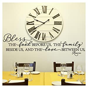"Bless The Food Before Us, The Family Beside Us, and The Love Between Us, Amen Vinyl Lettering Wall Decal (Style B 16"" H x 58"" L, Black)"