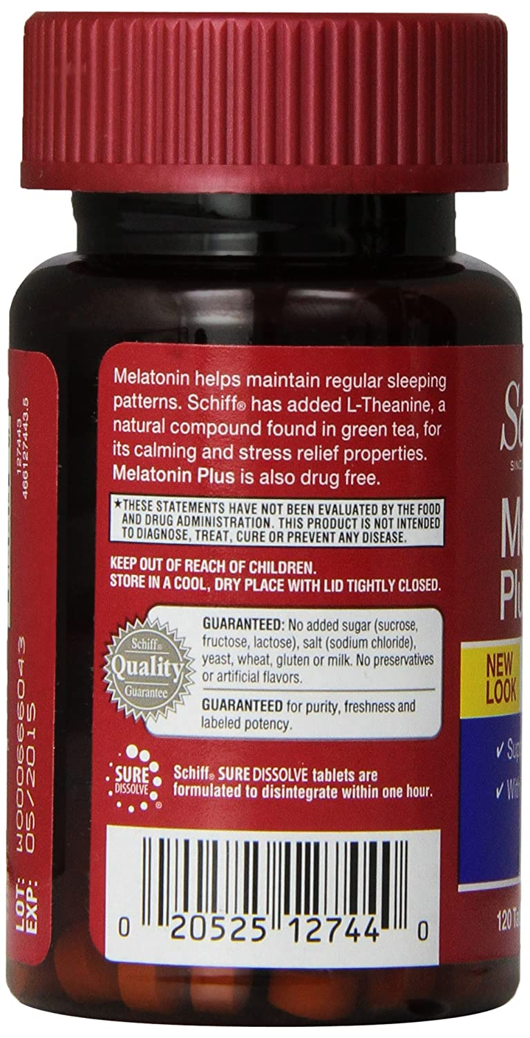 Amazon.com: Schiff Melatonin Plus with Melatonin 3mg and Theanine 25mg Sleep Aid Supplement, 120 Count: Health & Personal Care