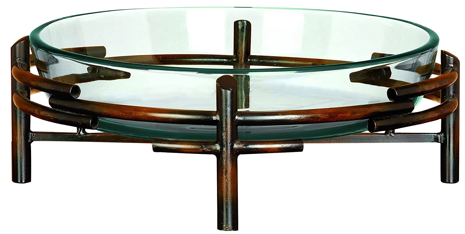 Deco 79 Glass Bowl Metal Stand, 18 by 6-Inch Benzara 72257