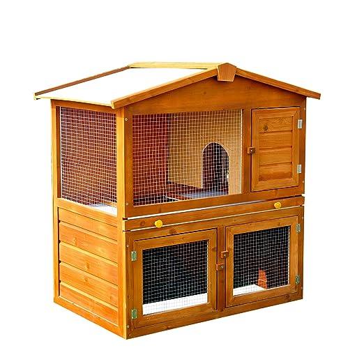 PawHut - Jaula de madera para conejos, conejillos de indias y ...
