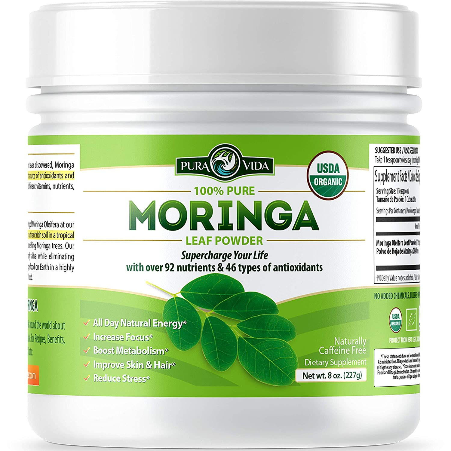 Organic Moringa Oleifera Leaf Powder - USDA Certified Organic Single Origin Moringa