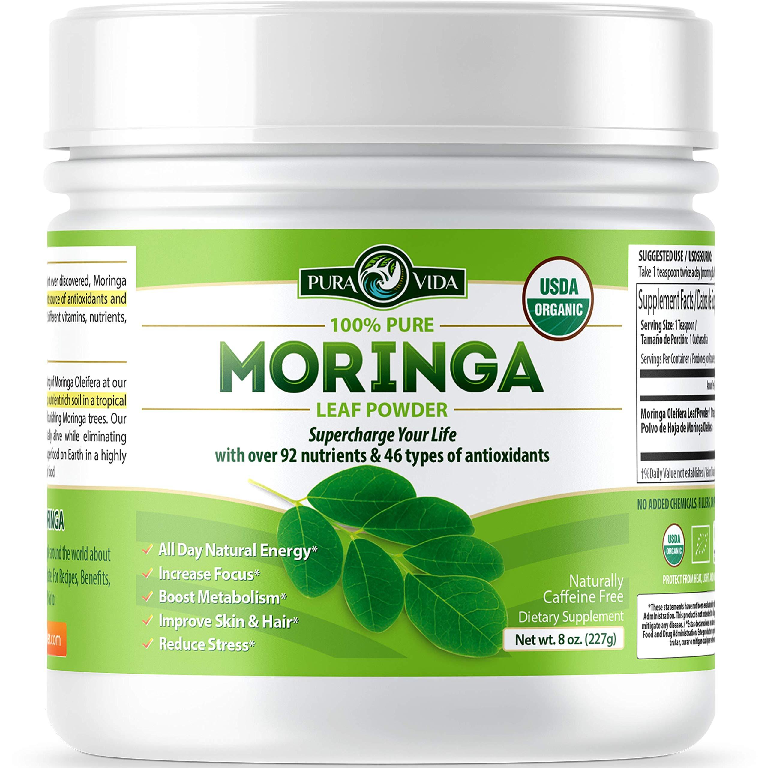 Organic Moringa Oleifera Leaf Powder - USDA Certified Organic Single Origin Moringa Powder from Nicaragua. Perfect for Smoothies, Recipes and Moringa Tea. 8 oz. by Pura Vida Supplements