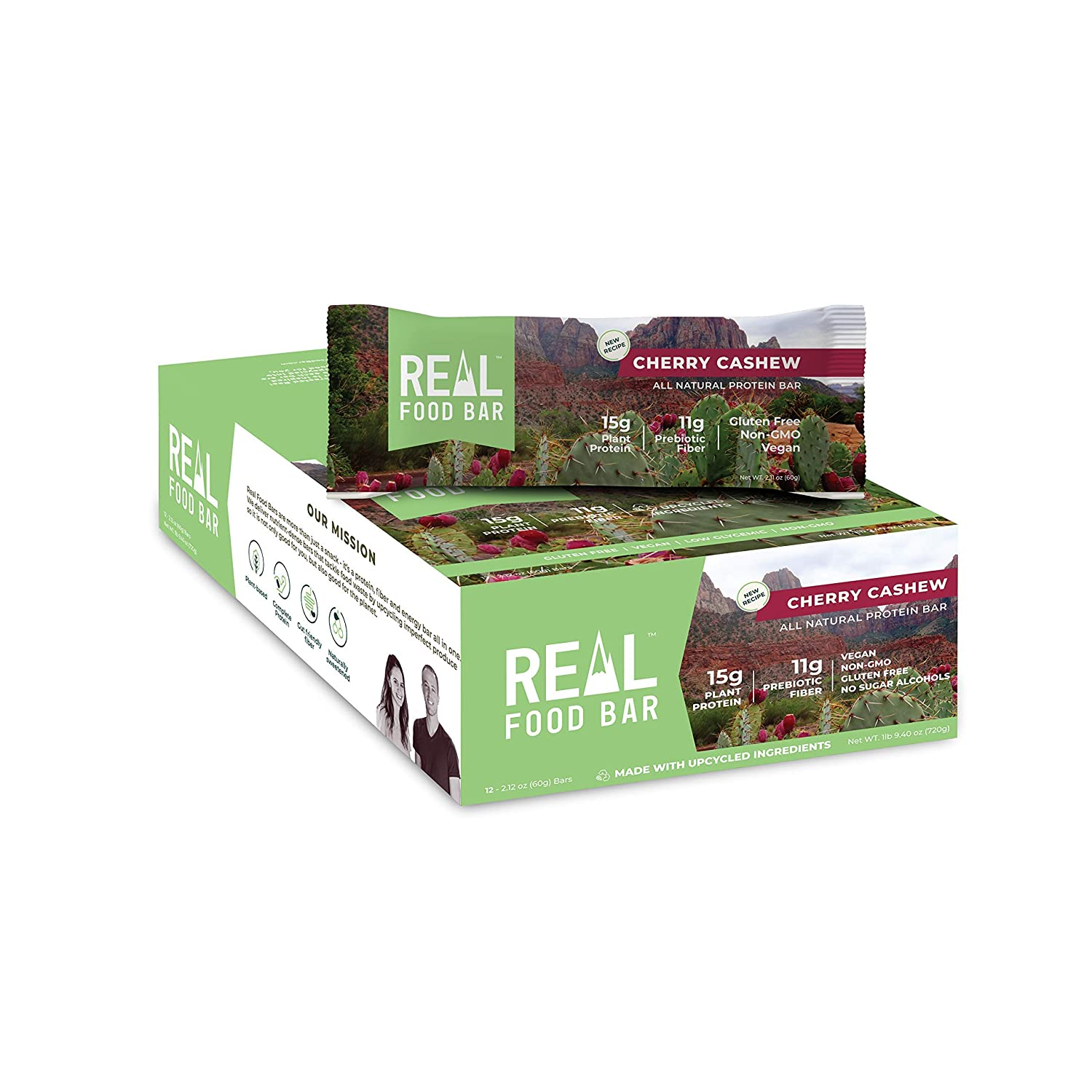 Real Food Bar – Plant based Protein Bar, Cherry Cashew, 15g Protein, 12 Bars   High Energy, Organic Ingredients, Gluten Free, Non GMO   All Natural Tasty Health Snack
