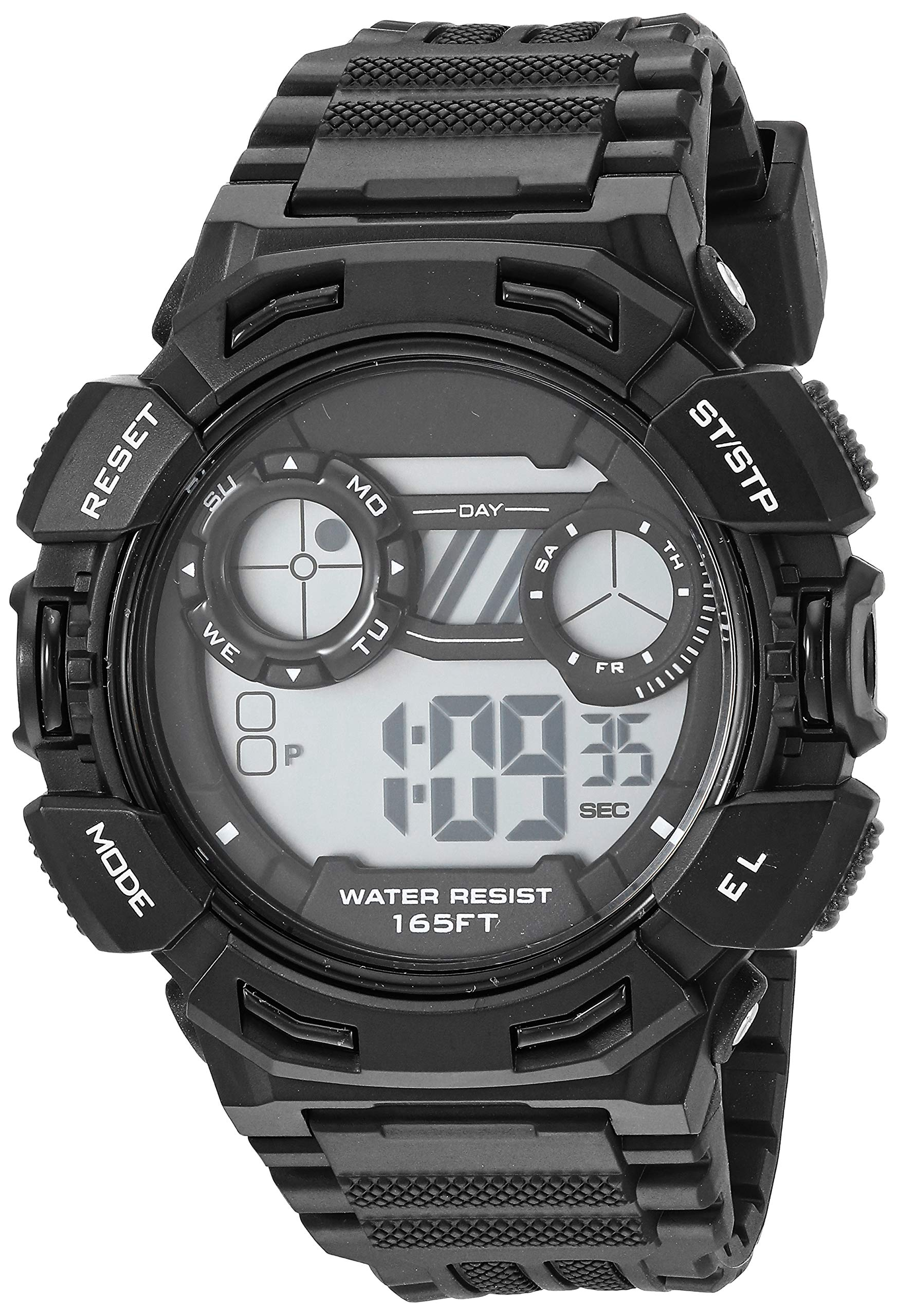 Men's Digital Chronograph Black Resin Strap Watch