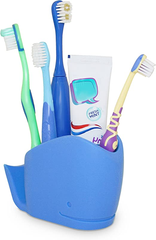 j me Toothbrush Caddy Wilson Whale (Blue) NON SLIP bathroom tidy will help free up space around your sink