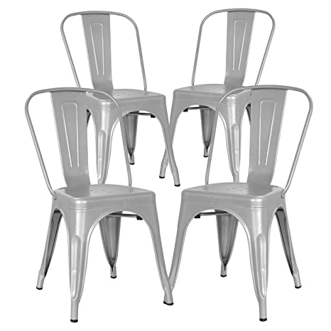 Swell Poly And Bark Trattoria Kitchen And Dining Metal Side Chair In Grey Set Of 4 Bralicious Painted Fabric Chair Ideas Braliciousco