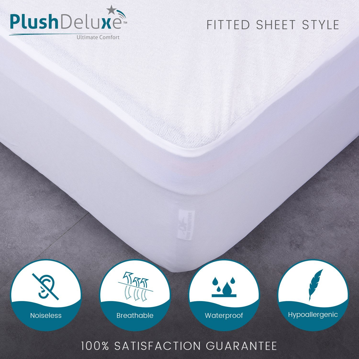 Breathable Soft Cotton Terry Surface PlushDeluxe Mini Crib Size Premium 100/% Waterproof Mattress Protector Hypoallergenic 10 Year Warranty from 4726 Vinyl Free