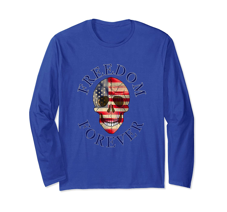 American Flag Skull USA long sleeve Shirt FREEDOM FOREVER-mt