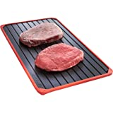 VonShef Defrosting Tray with Red Silicone Border. Thaws Frozen Food Faster! No Electricity, No Chemicals, No Microwave