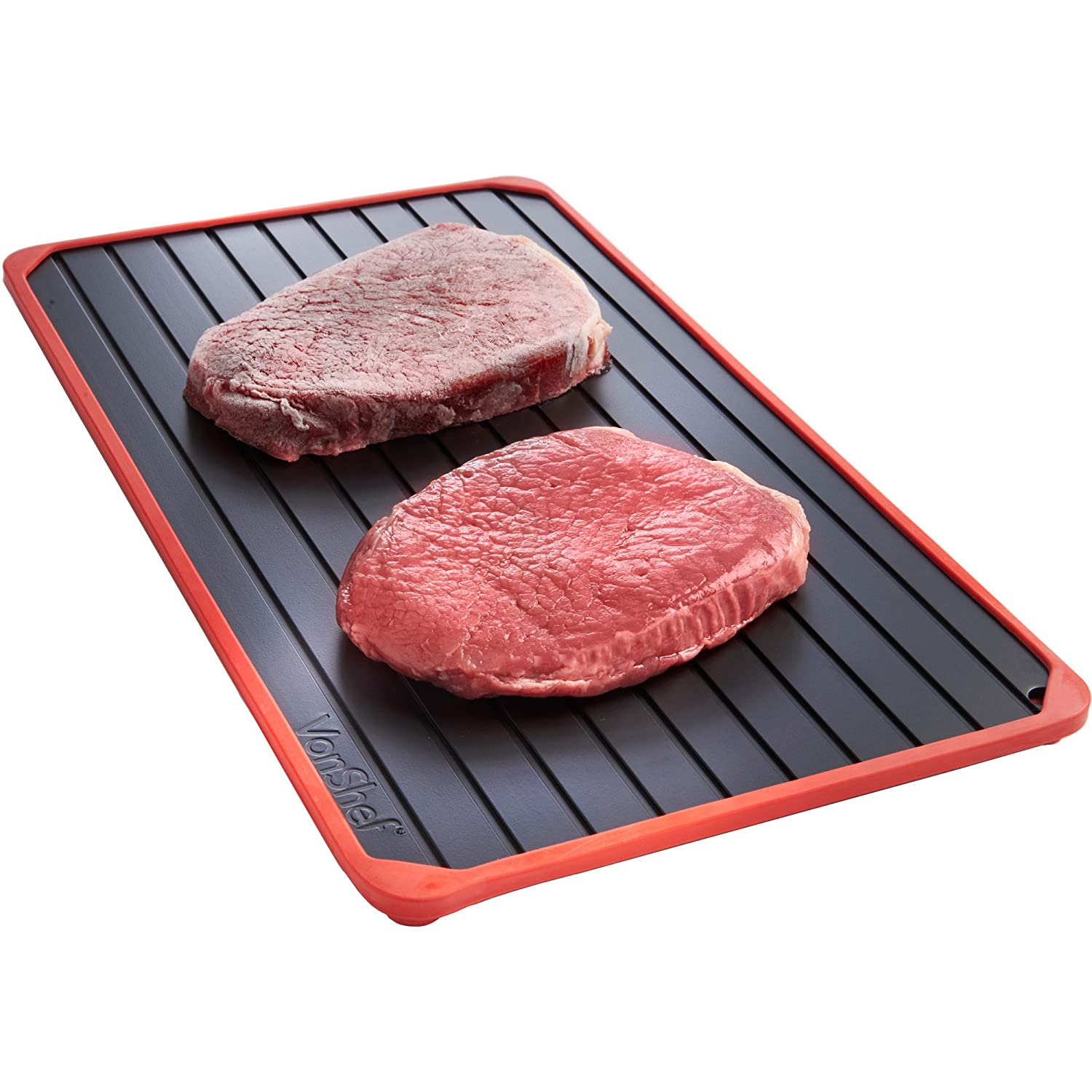 VonShef Defrosting Tray with Red Silicone Border Thaws Frozen Food Faster No Electricity, No Chemicals, No Microwave, Black