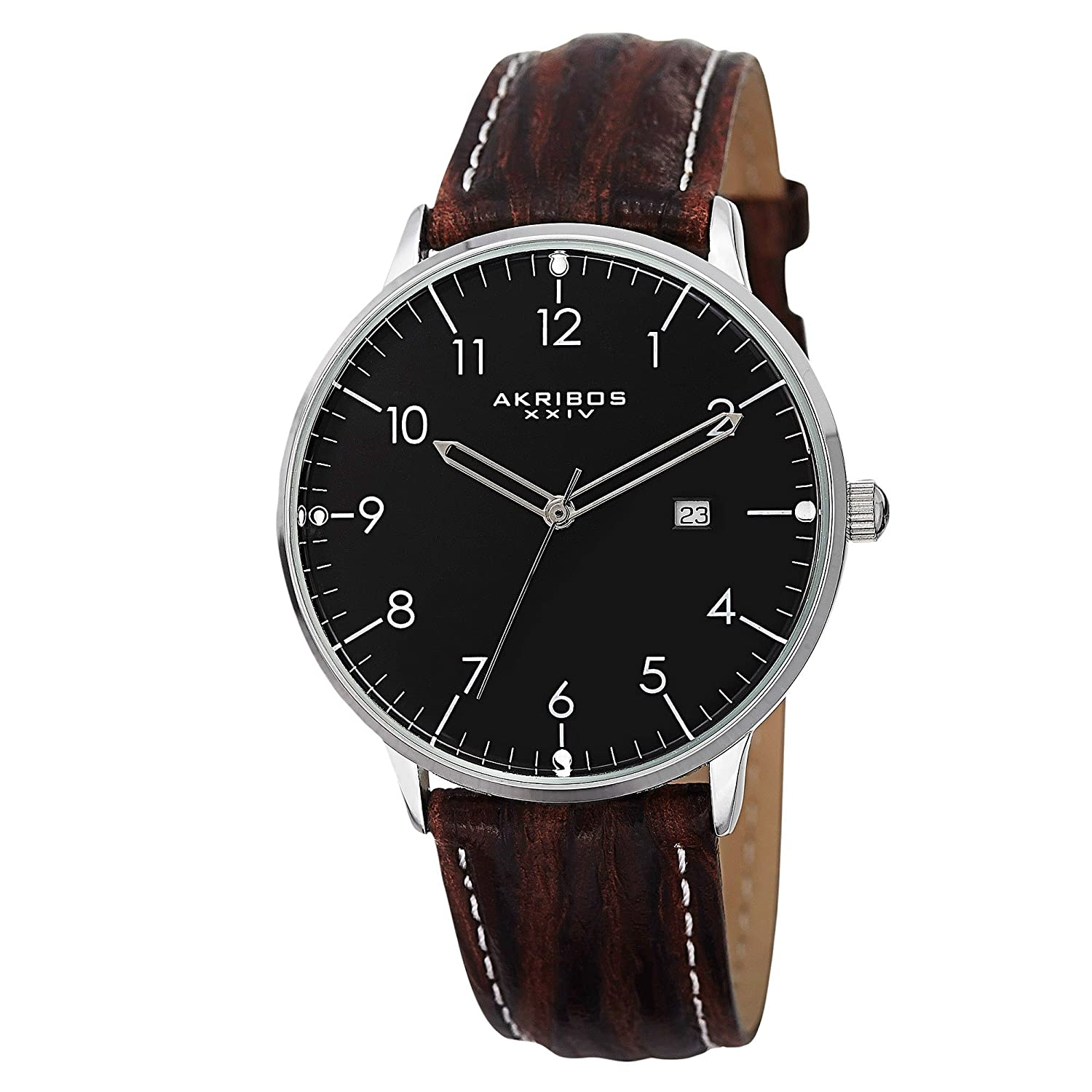 Pokupki customer account login/downloader - Amazon Com Akribos Xxiv Men S Ak715ssb Retro Stainless Steel Watch With Brown Leather Band Akribos Xxiv Watches