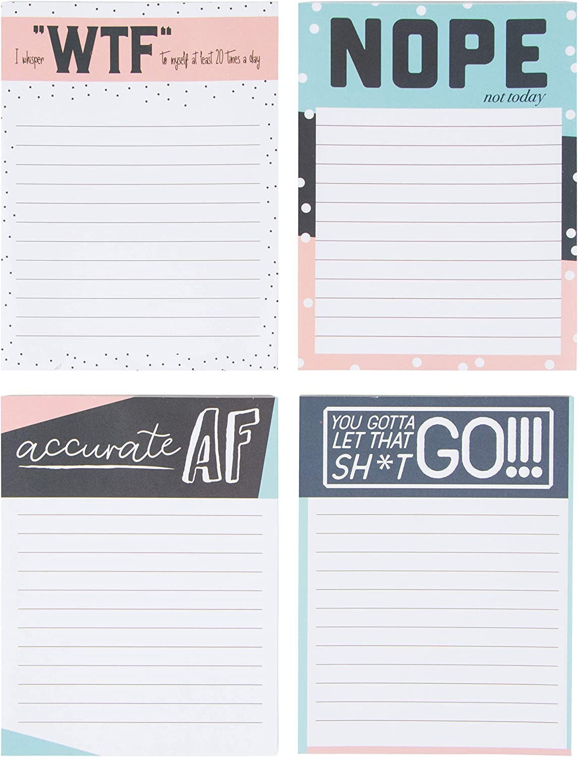 Paper Junkie to Do List Notepads with Fun Messages (4 Pack, 50 Sheets)
