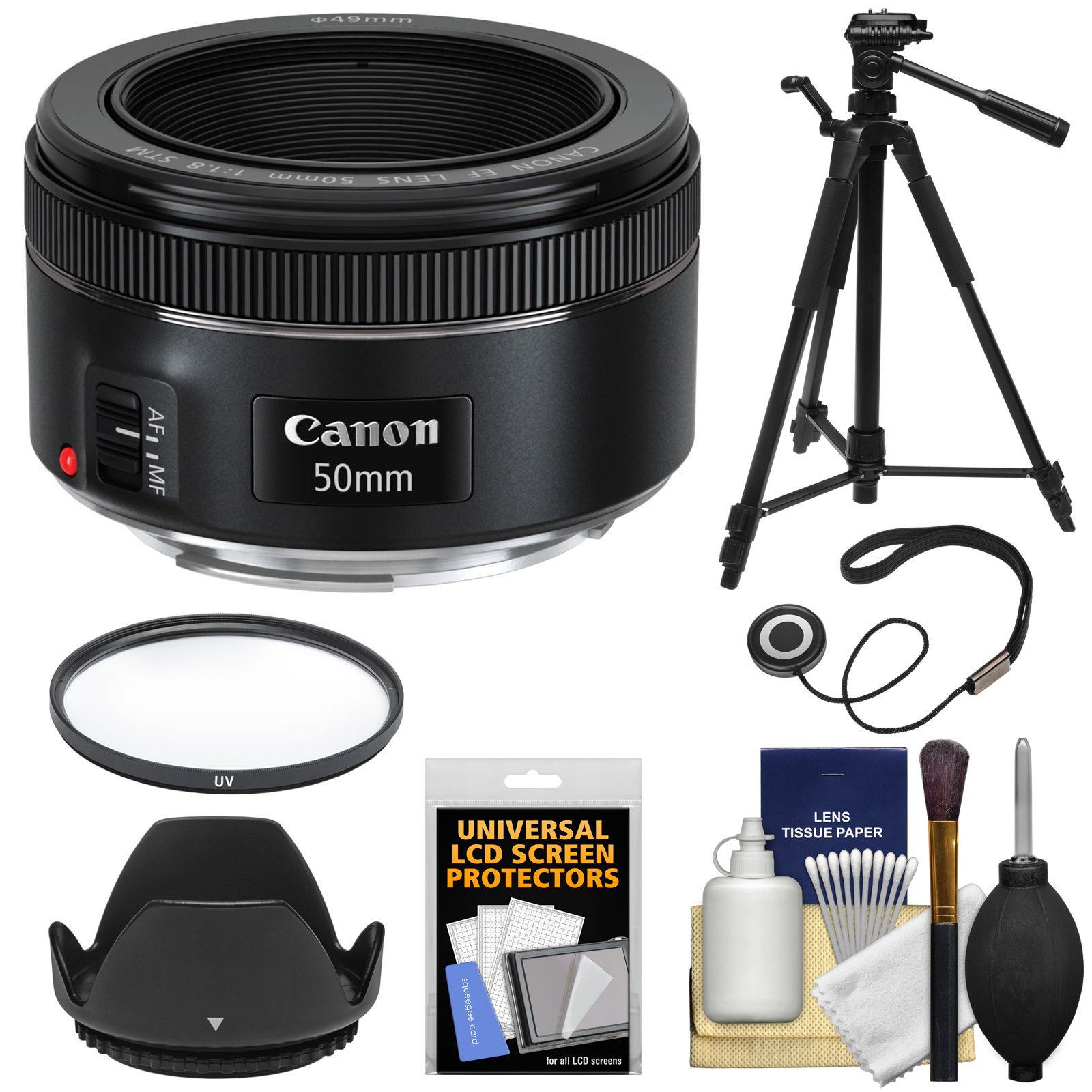 Canon EF 50mm f/1.8 STM Lens + Filter + Lens Hood + Tripod Kit for EOS 6D, 70D, 7D, 5DS, 5D Mark II III, Rebel T3, T3i, T5, T5i, T6i, T6s, SL1 Camera