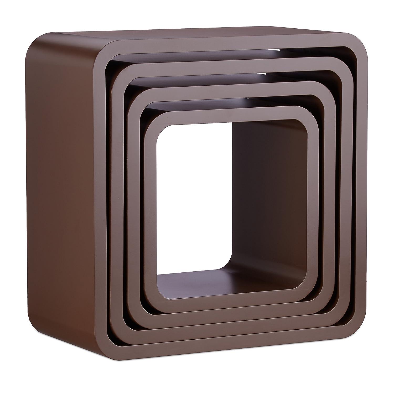 Relaxdays Wandregal Cube Im 4 Teiligen Set, Quadratisches MDF Wandboard,  Belastbares Dekoregal Für Wohnzimmer, ...