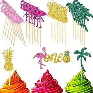 25 Pieces Cupcake Topper Flamingo Pineapple Coconut Tree Cake Picks cake topper for hawaiian tropical luau party supplies