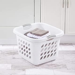 product image for Sterilite 12178006 1.5 Bushel/53 Liter Ultra Square Laundry Basket, White Basket w/ Titanium Inserts, Pack of 6