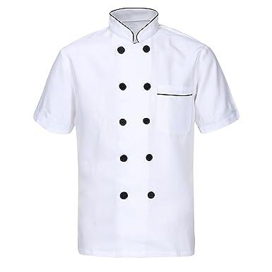 Nanxson Unisex Herren Kochjacke Weiß Kurzarm Baumwolle Küche Hotel  Kochkleidung Uniform Berufsbekleidung Mit Knöpfen CFM0001: Amazon.de:  Bekleidung