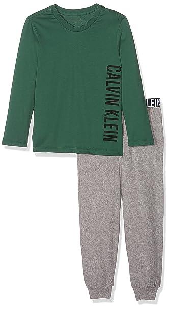 Calvin Klein LS Knit PJ Set, Pijama para Niños, Verde (Smoke Pine W