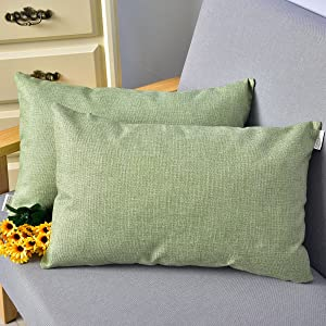 "NATUS WEAVER Decorative Lined Linen Euro Pillow Cover Cushion Case for Floor, 12""x 20"", Green, 2 Pieces"