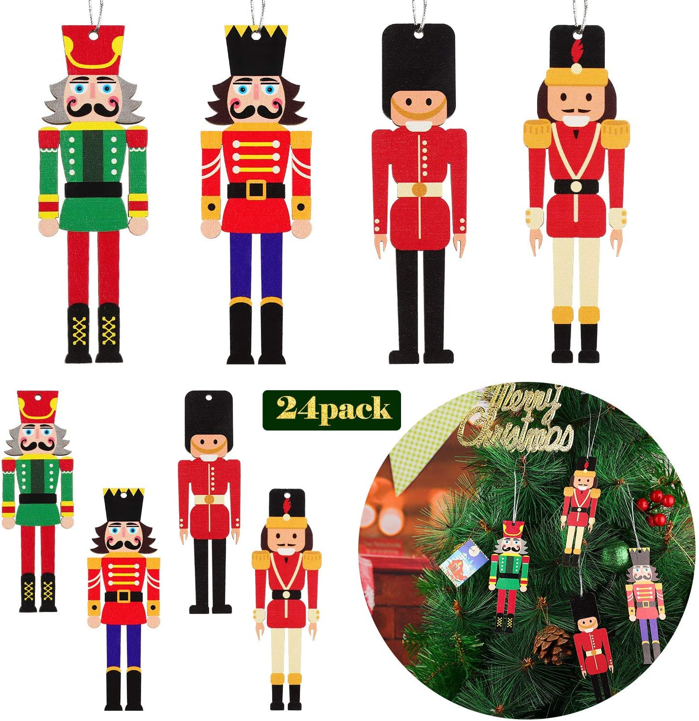 Jetec 20 Pieces Christmas Nutcracker Ornament Set Wooden Nutcracker Christmas Nutcrackers Hanging Ornament Figures Wooden King and Soldier Nutcracker for Christmas Party Supplies