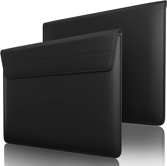 "Kuzy Leather Sleeve Case for MacBook Pro 13 inch Sleeve MacBook Air 13.3"" Microsoft Surface Book 13 inch Laptop Sleeve, Black"
