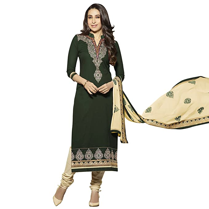 Kvsfab Women's Cotton Unstitched Salwar Suit Dress Material (Green, Free Size) Women's Ethnic Unstitched Fabric at amazon