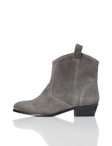 FIND Stiefel Damen aus Veloursleder mit Schlaufen, Grün (Khaki), 37 EU