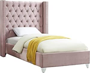 Meridian Furniture Aiden Collection Modern   Contemporary Velvet Upholstered Bed with Deep Button Tufting, Solid Wood Frame, and Custom Chrome Legs, Twin, Pink